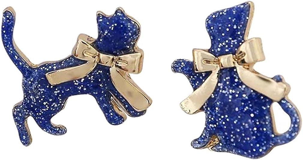 Women's Dainty Non Pierced Ears Blue Cat Dangle Clip on Earrings for Teen Girls Kids Jewelry Metal Bowknot Hoop Animal Cartoon Pet Drop Earring Fashion