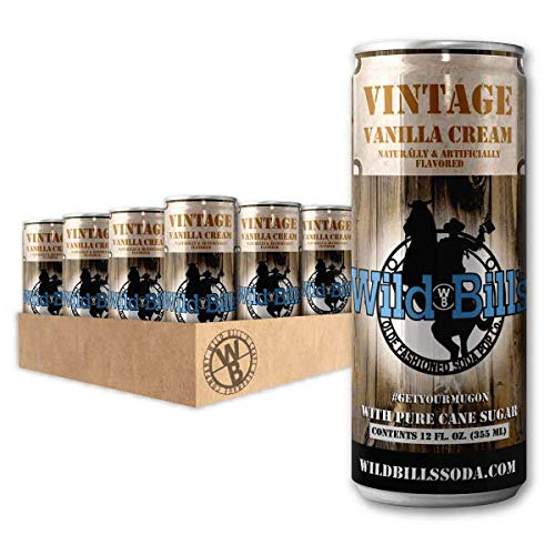 Wild Bill's Soda Vanilla Cream 12 Pack Cans - Carbonated Natural Cane Sugar Soda Pop Drink