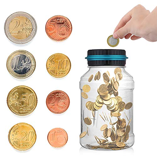 Wowlela Digital Counting Money Jar, 1.5L Large Piggy Bank Saving Jar Gift for Kids, Digital Coin Counter with LCD Display Auto Counting Coin Bank Money Saving Box for All Euro Coins