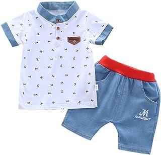 BOBOBORA Conjunto de bebé niño de verano, 2 piezas, camiseta dinosaurio de manga corta con pantalón corto de algodón a ray...