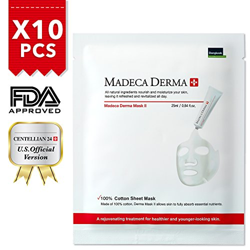 Face Mask Sheets [Madeca Derma] (10 Treatments), Full Facial Peel Off Disposable Sheet with Organic Centella Asiatica Extract Leaf Water, 100% Cotton - Centellian 24 (US Ver.)