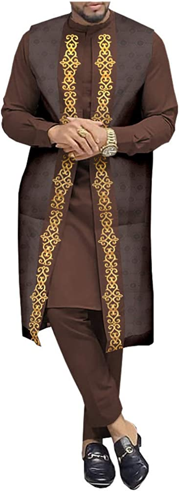 African Clothing for Men Print Coats Ankara Shirts and Pant Sets 3 Piece Suit Outwear Jacket Crop Top Trousers