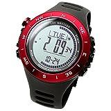 [ラドウェザー]デジタル時計 温度計 歩数計 100m 防水時計 (レッド通常)