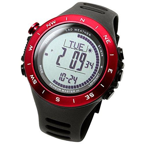 LAD WEATHER Reloj Altímetro Barómetro Brújula Calorías Pronóstico del Tiempo Marca de América y Japón Senderismo Correr Camping (Red+)