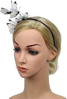 Women Girls 3D Butterfly Fascinator Headband Hair Hoop for Wedding Festival Party (White)