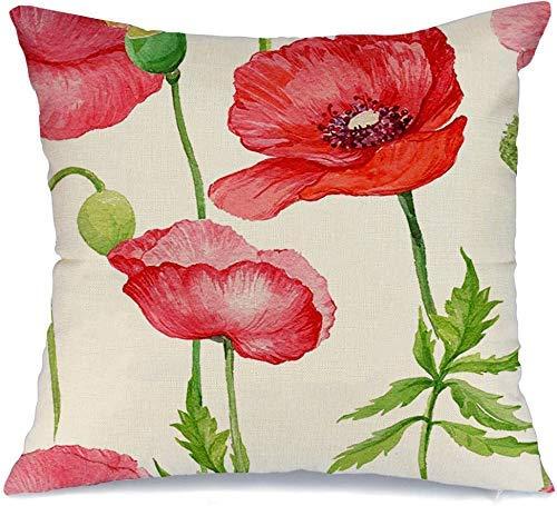 Decoración Throw Pillow Cover Funda de cojín Verde Hermosas amapolas rojasAmapolas de acuarela Acuarela Naturaleza Vintage Flora Púrpura Belleza Flor Funda de Cojine 45 X 45CM