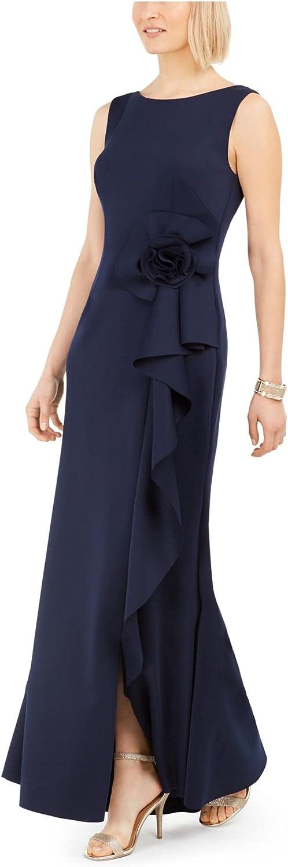 Jessica Howard Womens Navy Ruffled Sleeveless Scoop Neck Full-Length Sheath Formal Dress Size 6