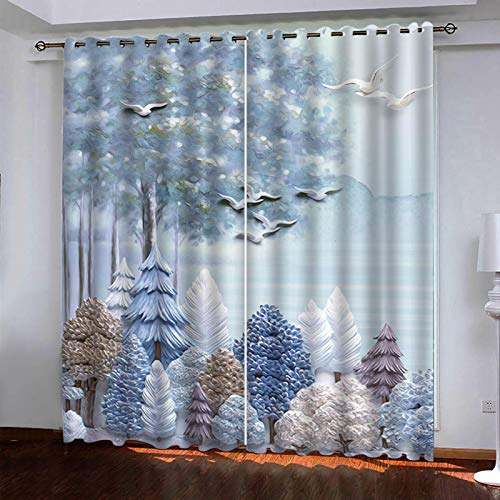 WLHRJ Cortina Opaca en Cocina el Salon dormitorios habitación Infantil 3D Impresión Digital Ojales Cortinas termica - 264x160 cm - Pájaro del Bosque Abstracto