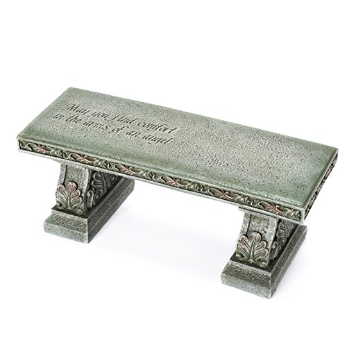 Roman Memorial Bench with Verse Inscribed on Top, 15.25-Inch
