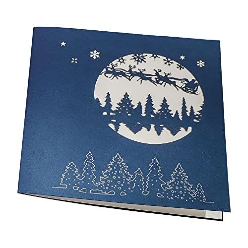 Viitech Tarjetas de felicitación 3D de Navidad, tarjetas de Navidad, 3D, diseño de árbol de Navidad, plegable, hechas a mano, creativas, para Navidad, Año Nuevo, cumpleaños, día de San Valentín