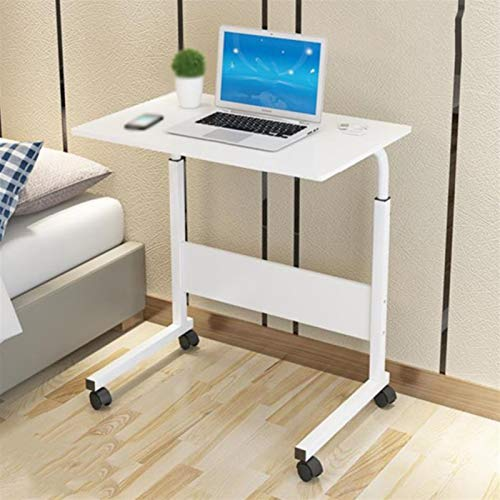 Computer Workstations Laptop Desk and Bed Tray Portable Desk Adjustable Height 4 Casters (with Locking Device) for Bed Sofa Study Gaming Portable Table (Color : White)