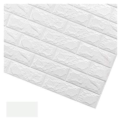 HYCSP Tapete Brick-Wand-Aufkleber Ziegelstein-Haus-Dekor-Antikollisionswand Waschbar Schaum Soft-Pack (Color : White, Size : 70x77cm)
