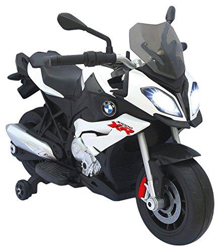 Jamara 460253 - Ride-on motorfiets BMW S1000XR wit 6V - krachtige aandrijfmotor en accu, LED-koplamp, achterlicht, verlicht dashboard, geluid, MP3-speler, startknop, handgas, rem
