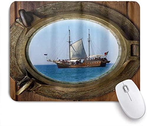 XWJZXS Alfombrilla de ratón, Marinero de Ojo de Buey de Barco Pirata rústicoOficina, Alfombrilla de ratón para Juegos en casa