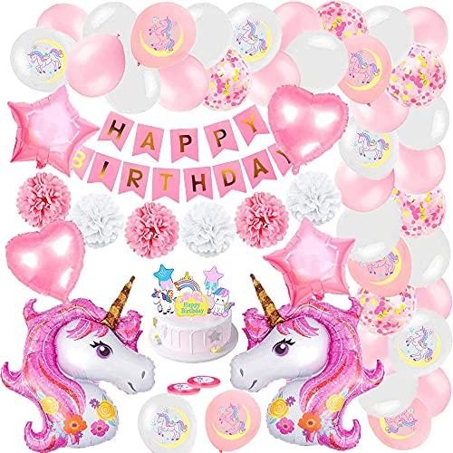 Decoración cumpleaños niña fiesta unicornio, cumpleaños unicornio para niños con pancarta, globos látex rosa, pompones flores papel, globos papel estrella corazón para decoración festivales