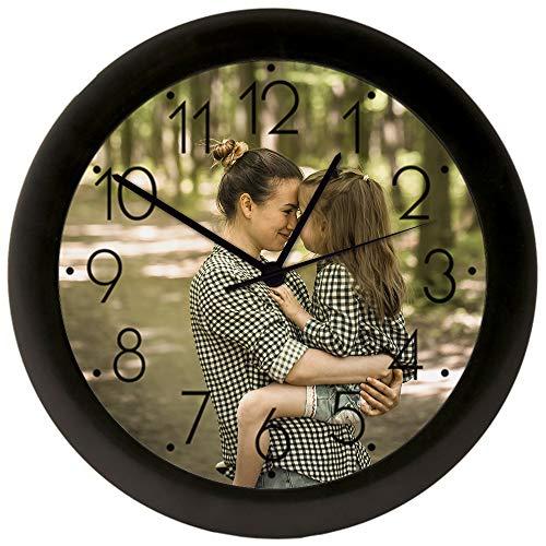 Reloj de Pared Grande Ø 250 mm Personalizado (con Logo, Foto o Imagen) • Mecanismo Silencioso Sweep sin TicTac • Reloj de Pared con Números para Hogares y Oficinas • Ideal para Día de la Madre