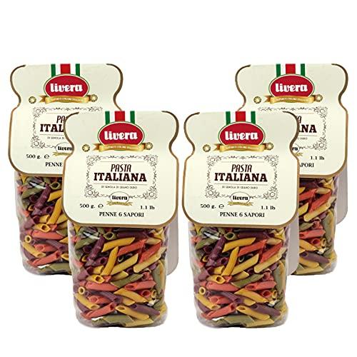 Livera Penne 6 Colori 4 x 500 Gr, Pasta Corta di Semola di Grano Duro 100% Made in Italy, Pasta Aromatizzata Colorata, Penne Rigate Artigianali, Pasta Secca Italiana Artigianale di Alta Qualità