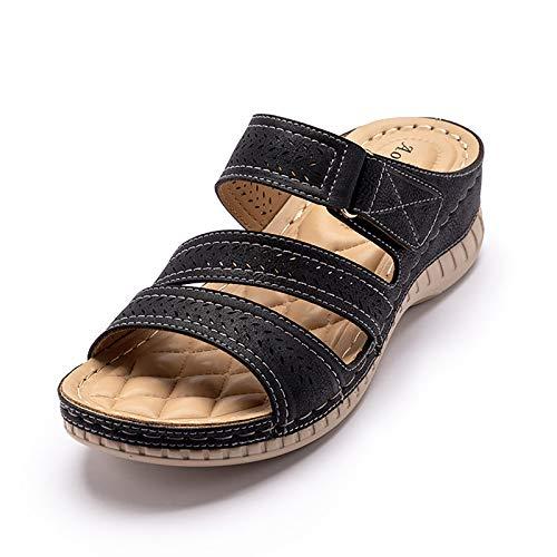 OJBK Mujeres Sandalias Cuña Bohemia Playa Gladiador Sandalias Verano Tangas Zapatos Hueco Dedo Cerrado Señoras Playa Flip Flops,Negro,37