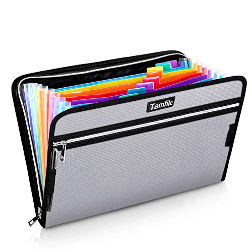 """Fireproof Safe Waterproof Accordion File Bag Folder Expanding Filing Folder with 14 Multicolored Pockets, A4 Letter Size, Document Organizer Holder and Color Labels /2 Zipper (Silver 14.3"""" x 9.8"""")"""