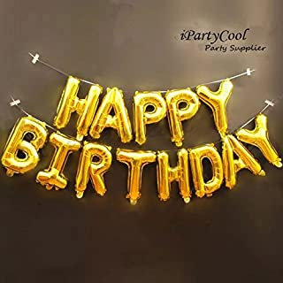 iPartyCool Happy Birthday Balloons,3D Premium Aluminum Foil Banner Balloons for Birthday Party Decorations and Supplies -Gold [1-Year Guarantee]