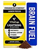VitaCup Lightning Dark Roast Ground Coffee with 2X Caffeine, Nootropics and Vitamins B1, B5, B6, B9, B12, D3 Brain Booster, Energy & Focus, Drip Coffee Brewers and French Press, 12 Ounces