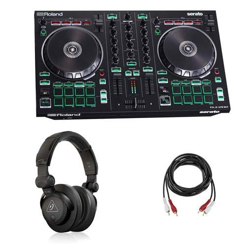 Roland DJ-202 2-Channel 4-Deck Serato DJ Controller - Bundle With Behringer HC 200 Professional Closed-Back Over-Ear DJ Headphones, H&A 2 RCA Male to 2 RCA Male Stereo Audio Cable 10'