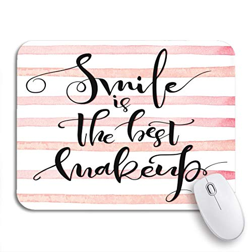 Gaming mouse pad smile ist das beste make-up inspirational calligraphic positive über rutschfeste gummi backing computer mousepad für notebooks mausmatten