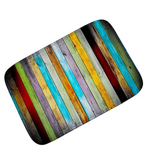 Alfombras de baño sin deslizamiento a rayas, alfombras de microfibra extra larga alfombras absorbentes impresos impresos alfombras de cocina alfombras de cocina Entrada Feormatatas -a grano de madera