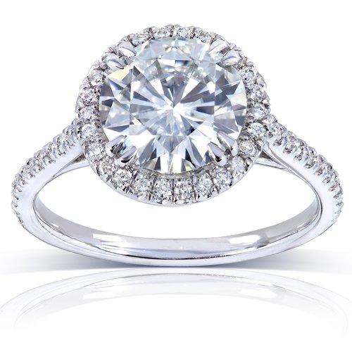 Kobelli Round-cut Moissanite Engagement Ring 2 CTW 14k White Gold (8.0mm), Size 5, White Gold