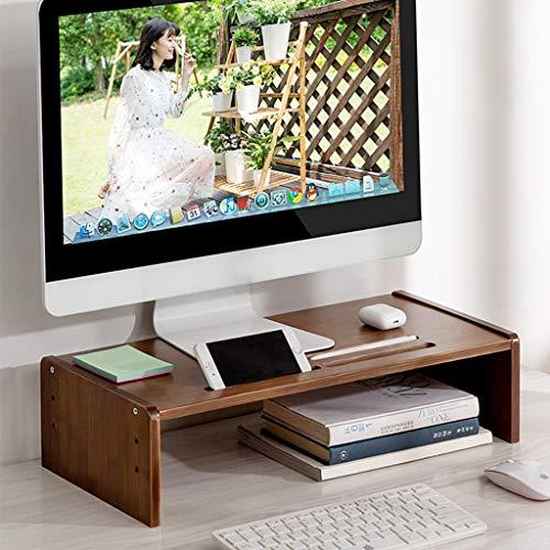 Organizador de escritorio de soporte de monitor Hight ajustable, elevador de monitor de bambú con almacenamiento de ranura de almacenamiento, soporte de monitor de computadora para escritorio