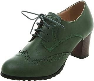 Melady Women Classic Block Mid Heels Oxford Shoes