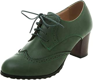 Melady Women Classic Block Mid Heels Oxford Shoes
