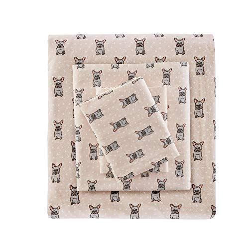 True North by Sleep Philosophy Cozy Flannel Warm 100% Cotton Sheet-Novelty Print Animals Stars Cute Ultra Soft Cold Weather Bedding Set, Twin, Pink French Bulldog 3 Piece