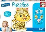 Educa - Baby Puzzles Animales Salvajes. Set de 5 Puzzles Infantiles Progresivos de 3 a 5 piezas. A partir de 24 meses. Ref. 14197