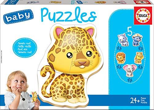 Educa - Baby Puzzles, puzzle infantil Animales salvajes, 5 puzzles progresivos de 2 a 5 piezas, a partir de 24 meses (14197)