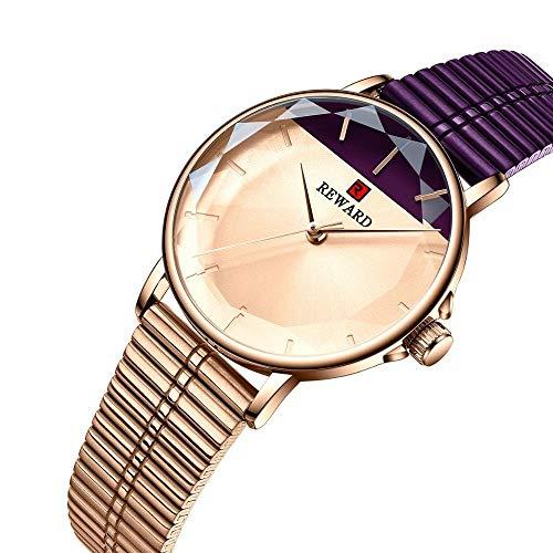 PULLEY Año de fin de año gracias por las ventas Relojes de mujer de lujo Reloj de cuarzo de cristal de malla de acero inoxidable impermeable regalo (color: púrpura)