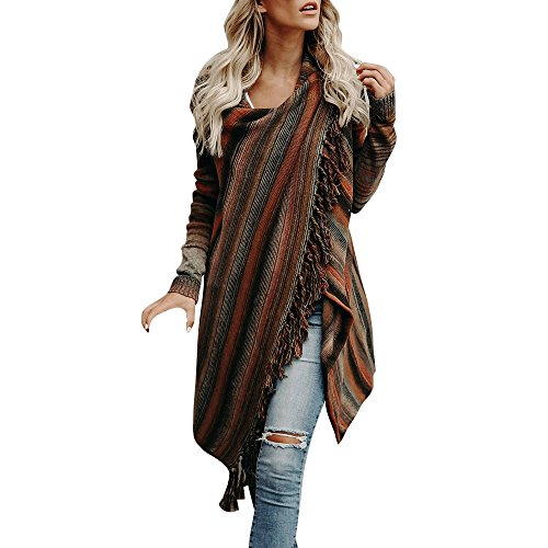 Lazzboy Frauen Strickpullover Unregelmäßige Quaste Strickjacke Strickwaren Mantel Jacke Shirts Damen Kleid Langarm Pullover Sweatshirt(Braun,L)