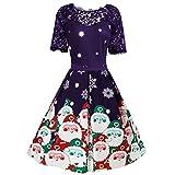 Auifor 1950 Navidad cordón de Las Mujeres Imprimir Recorte de la Cremallera del Vestido de la Vendimia Vestido de Noche de Las Mujeres(Púrpura/Small)