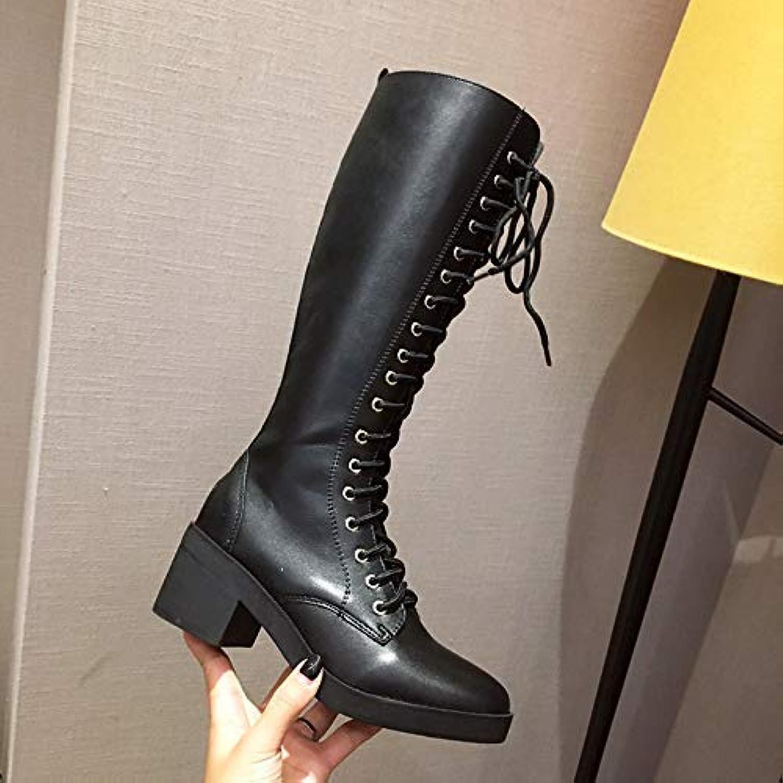 Qiusa High Heels Dicker Absatz Stiefel Stiefel Stiefel Stiefel Stiefel Britischer Wind dick mit Absatzschuhen Frauen (Farbe   39, Größe   Schwarz)  d6eb0c
