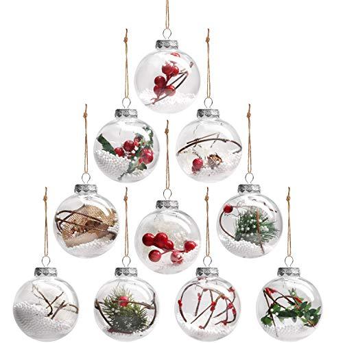 Bolas de Navidad (Pack de 10) Adornos Navidad Vintage Llenas, Decoradas Plástico Redondo Transparente - Bola Transparente...