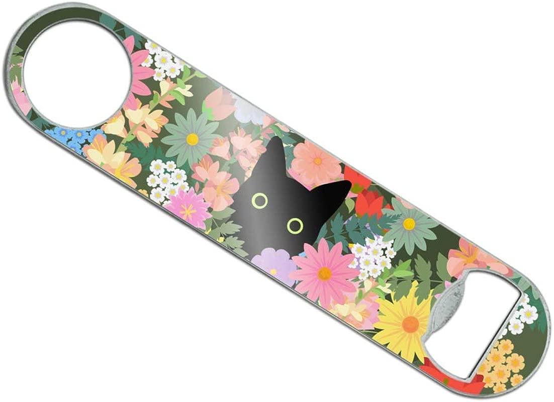 Black Cat Hiding In Spring Flowers Stainless Steel Vinyl Covered Flat Bartender Speed Bar Bottle Opener