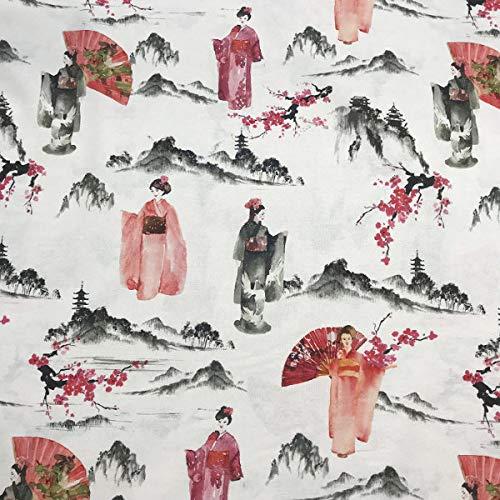 Tela por metros de loneta estampada digital - Half Panamá 100% algodón - Ancho 280 cm - Largo a elección de 50 en 50 cm | Geishas - Negro, blanco, rosa, rojo