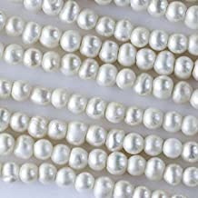 Cherry Blossom Beads White Fresh Water Pearls Grade B Large 2mm Hole 7-8mm Potato - 8 Inch Strand