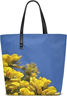 JTMOVING Women Gorse Scotland Blue Sky Scottish Uk Spring Handle Satchel Handbags Shoulder Bag Tote Purse Messenger Bags