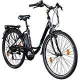 Zündapp Z505 E Bike Damen 28 Zoll E Damenfahrrad Elektro Fahrräder mit 6 Gängen Fahrrad Ebike Damen City Hollandrad Damenrad Pedelec tiefer Einstieg (schwarz/blau, 48 cm)