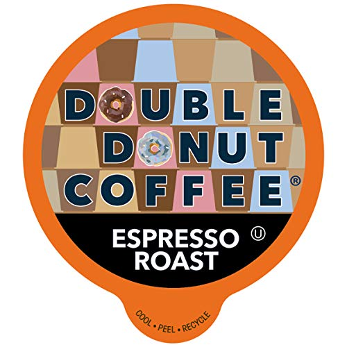 Double Donut Dark Roast Coffee Pods, Espresso Roast, Strong Coffee in Recyclable Single Serve Coffee Pods for Keurig Coffee Maker, 80 Count