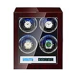 Cajón para Guardar Relojes y Joyas Raya automática Winder 4 con Pantalla LCD Control LED Luz Flexible Reloj Almohadas 15 Modo de rotación Motor silencioso Estuche de Almacenamiento de Lujo