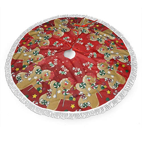 Gingerbread Christmas Sweet Candy Lollipop Christmas Tree Skirt 48' Large Halloween Xmas Tree Decor for Holiday Party Decor Christmas Decoration