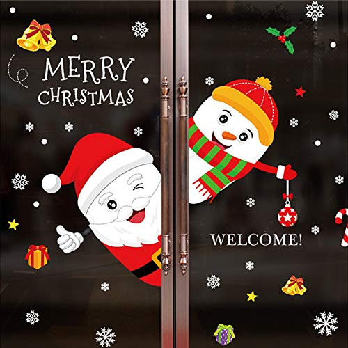 ZYUN 2 Pcs Install Christmas Window Clings, Wall Decal Sticker Removable Christmas Murals For Living Room Decorations,7