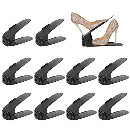 Hengda Einstellbare Schuhregale, 10 Stück Verstellbarer Schuhstapler, Platzsparend, rutschfest, Einstellbare Organizer PP Schuhregal